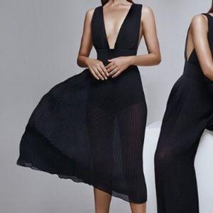 Misha Collection Marika Dress Black Sheer Midi XS